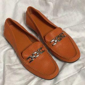 Talbots leather orange slip on shoes